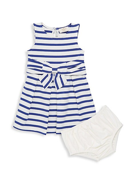 Baby Girls 2Piece Striped Dress  Bloomers Set