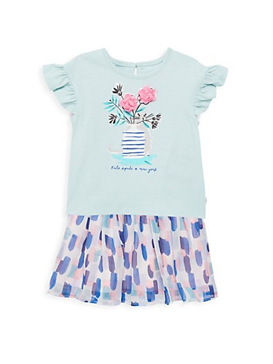 88789a3a8 Kate Spade New York Baby Girl's 2-Piece Cat Graphic Tee & Abstract Skirt Set  ...