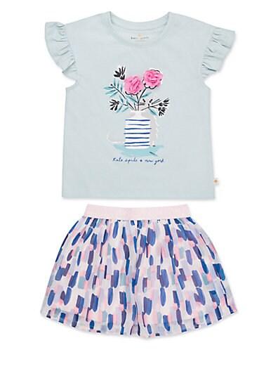 1d375d72f Kate Spade New York Little Girl's 2-Piece Flower Cat Tee & Skirt Set