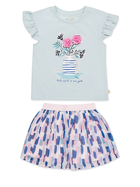 Little Girls 2Piece Flower Cat Tee  Skirt Set