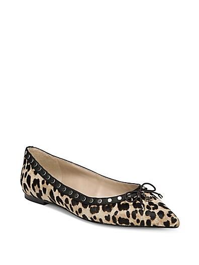 739a52b533a6 Sam Edelman Ralf Studded Leopard Print Calf Hair Ballet Flats ...