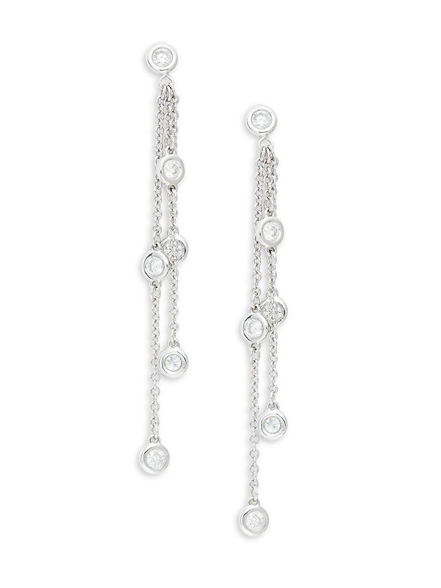 Women's 14K White Gold & 0.50 TCW Diamond Multi-Chain Drop Earrings