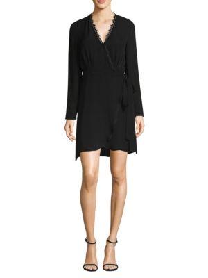 L'agence Dresses Trino Lace-Trim Wrap Dress