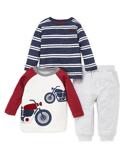 LITTLE ME | Baby Boy'S 3-Piece Cotton Tee & Pants Set | Goxip