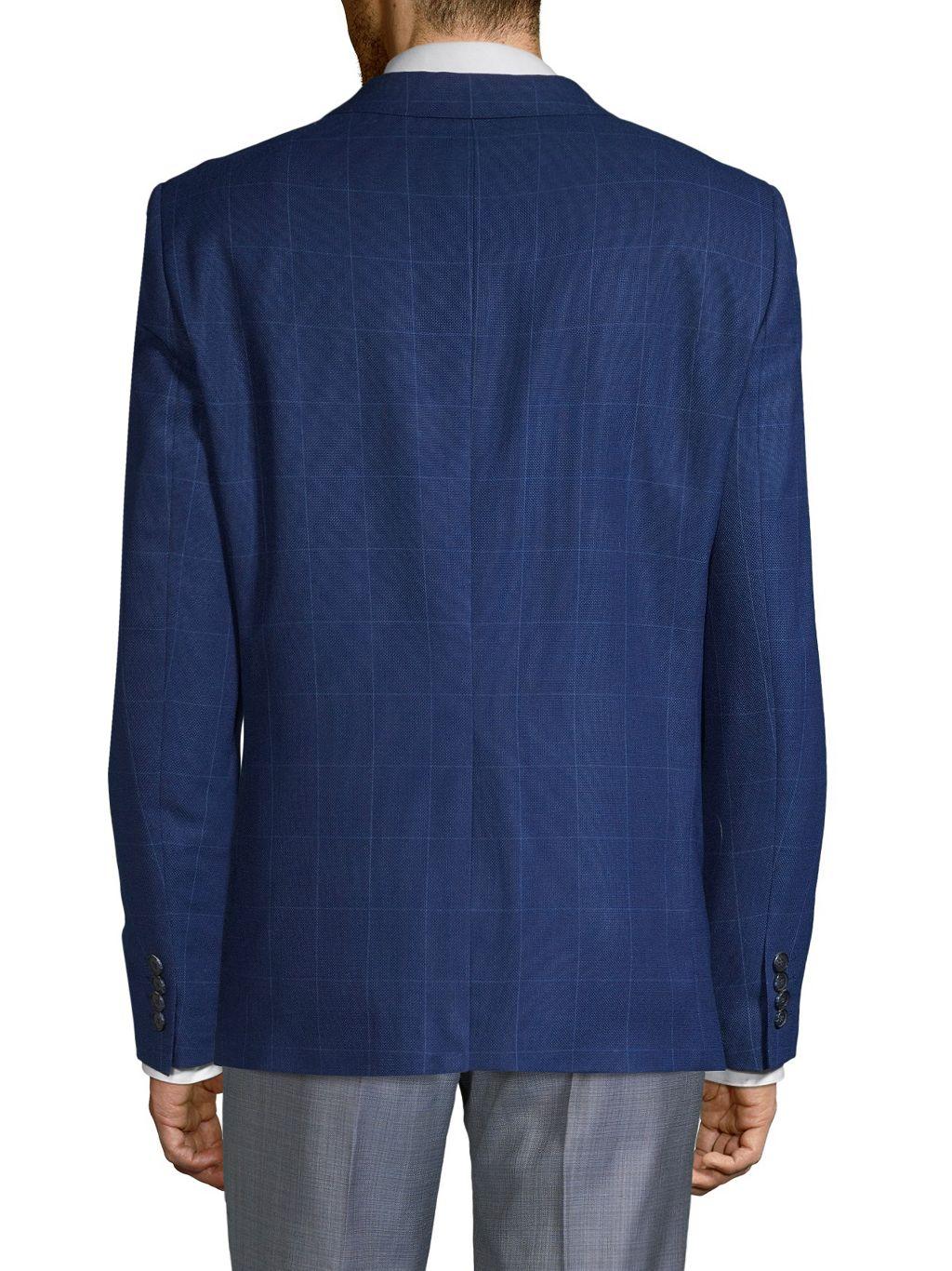 Karl Lagerfeld Textured Windowpane Wool Blend Jacket
