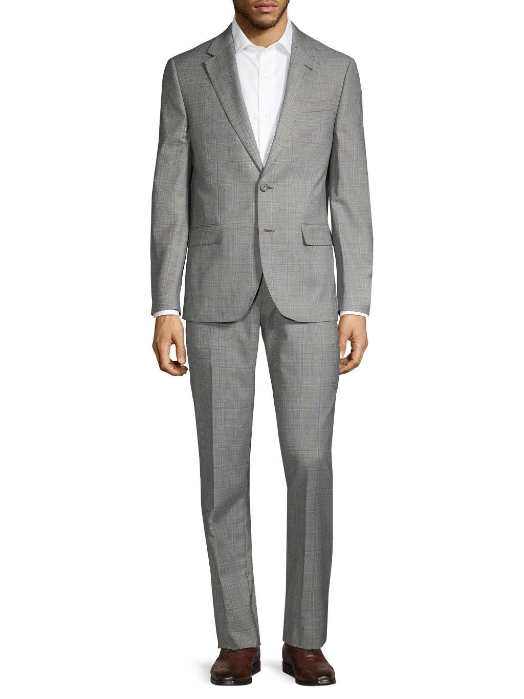 Karl Lagerfeld Worsted Wool Blend Windowpane Suit
