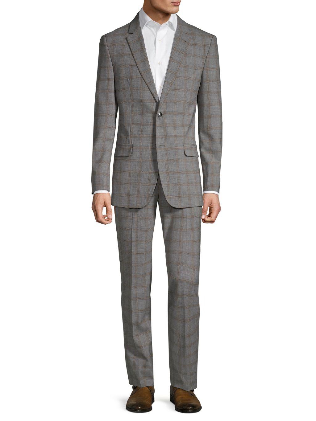 Ben Sherman Slim-Fit Plaid Wool Blend Suit