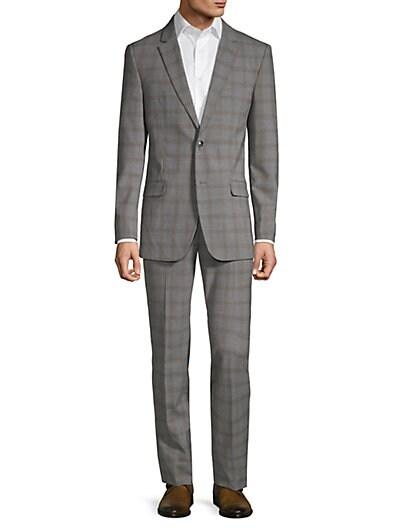 64e4ea00533 Ben Sherman Slim-Fit Plaid Wool Blend Suit ...