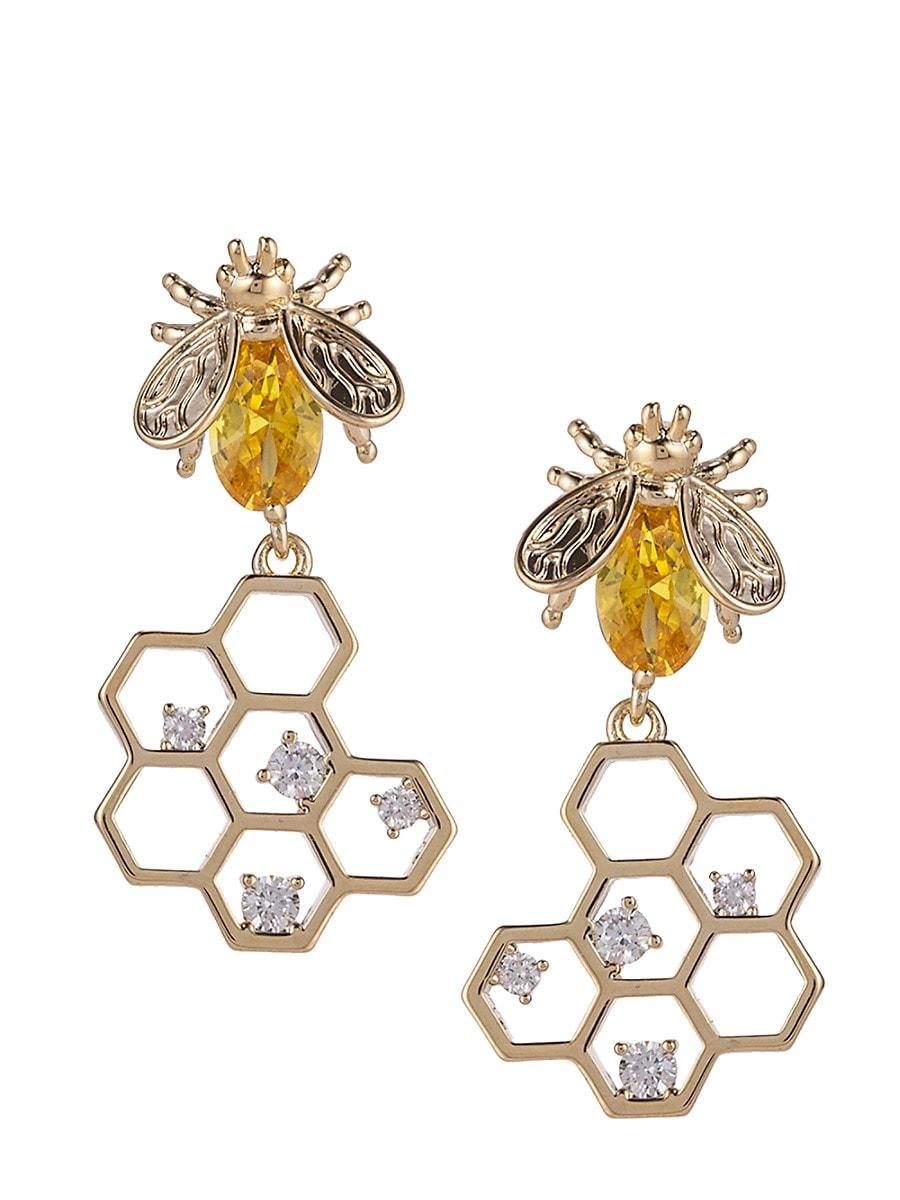 Women's Luxe Goldtone & Crystal Golden Honey Bee Drop Earrings