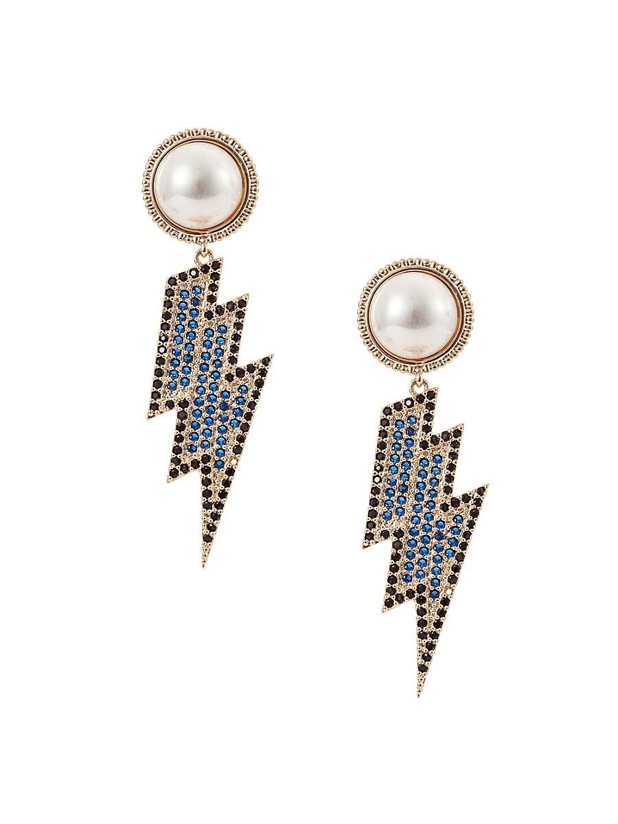 Women's Luxe 18K Goldplated & Crystal Bolt Drop Earrings