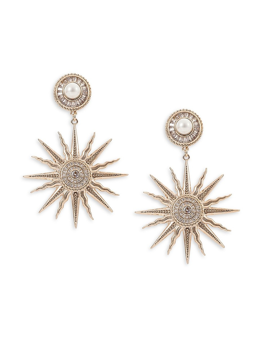 Women's 18K Goldplated Crystal Sun Goddess Drop Earrings