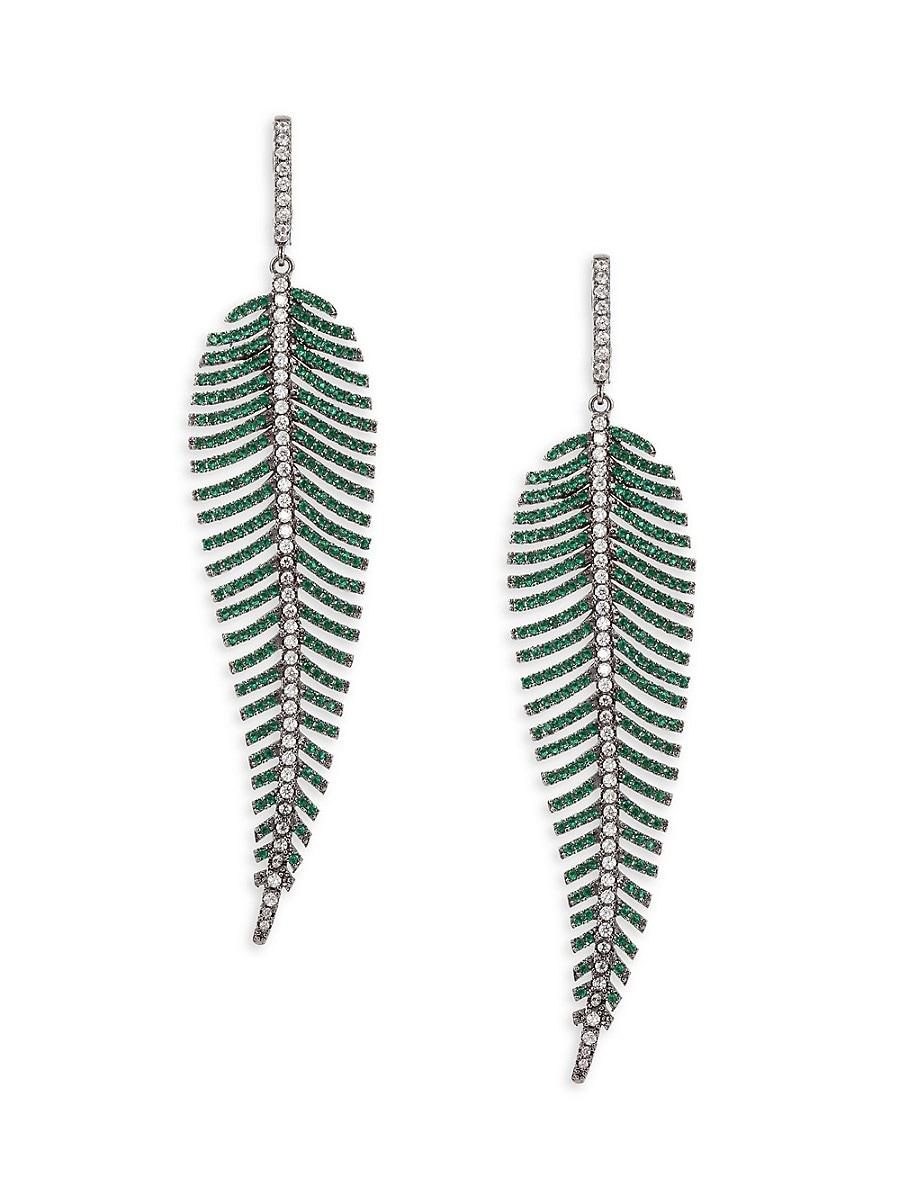 Women's Luxe Crystal Leafy Dangle Earrings