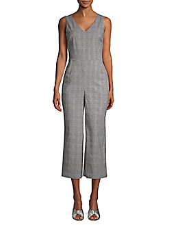 b452f95e44a1 Karl Lagerfeld Paris. Sleeveless Glen Plaid Jumpsuit