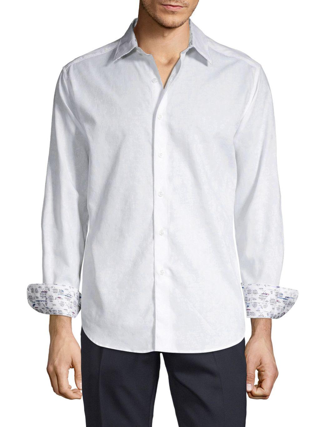 Robert Graham Long-Sleeve Contrast Button-Down Shirt