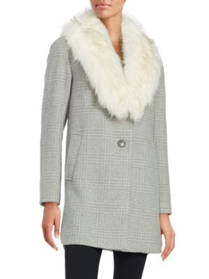 T TAHARI Olivia Faux Fur Collar Wool-Blend Plaid Coat in Heather Grey