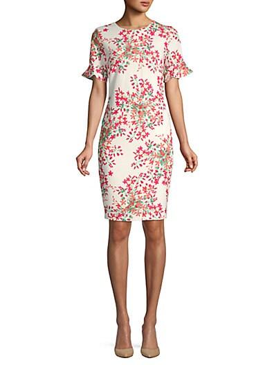 def1d317b1 Calvin Klein Floral Flare-Sleeve Sheath Dress ...