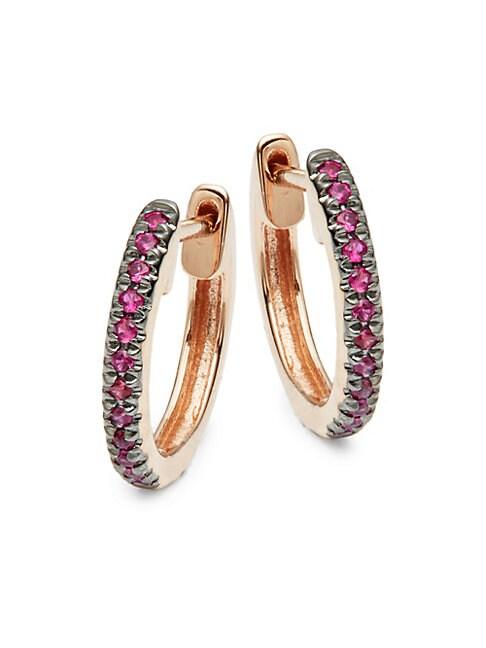SAKS FIFTH AVENUE | 14K Rose Gold & Pink Sapphire Hoop Earrings | Goxip