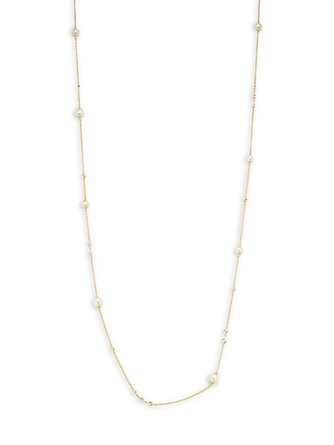 SAKS FIFTH AVENUE | Diamond 5MM Freshwater Pearl 14k Yellow Gold Station Necklace | Goxip