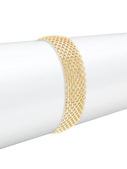 SAKS FIFTH AVENUE | 14k Yellow Gold Bismark Chain Cuff | Goxip