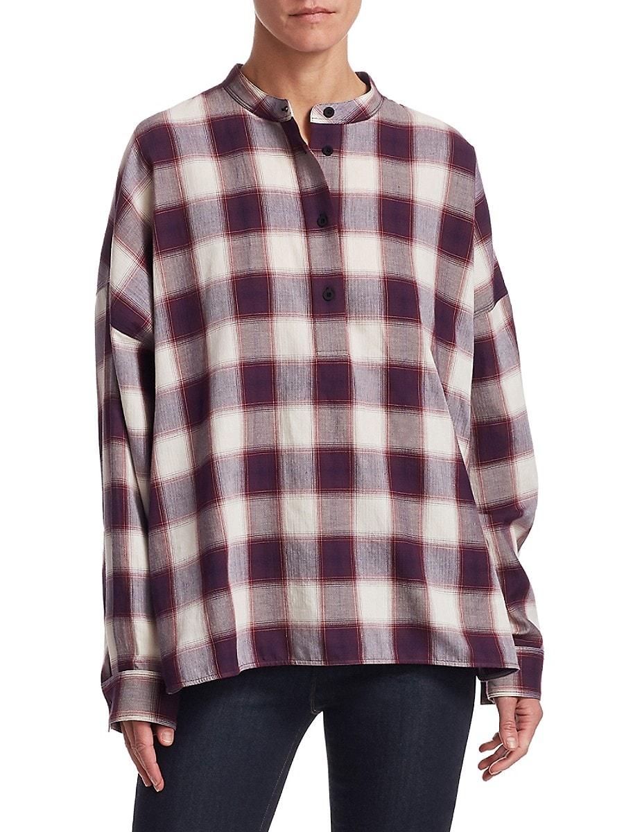 Women's Flint Oversized Plaid Cotton Shirt