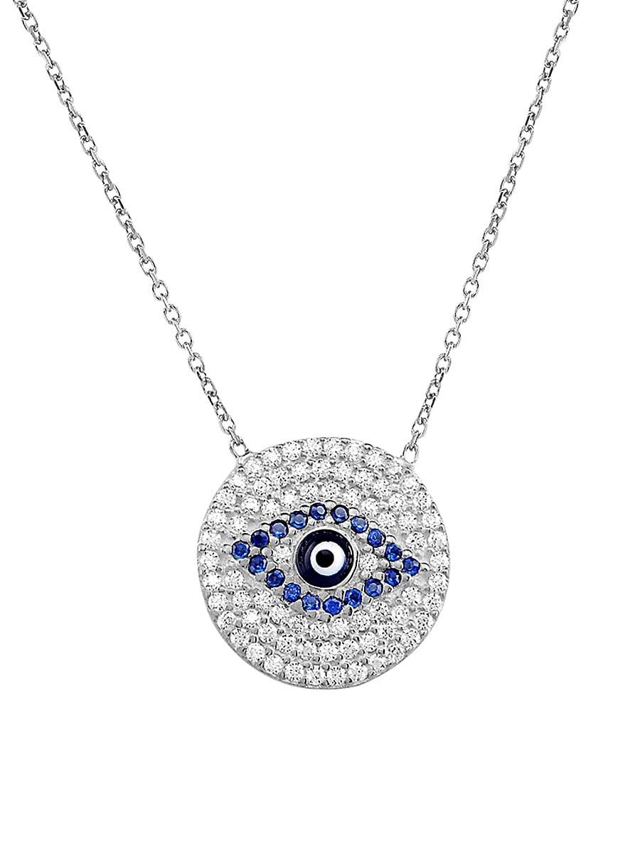 Women's Sterling Silver White & Blue Crystal Evil-Eye Pendant Necklace
