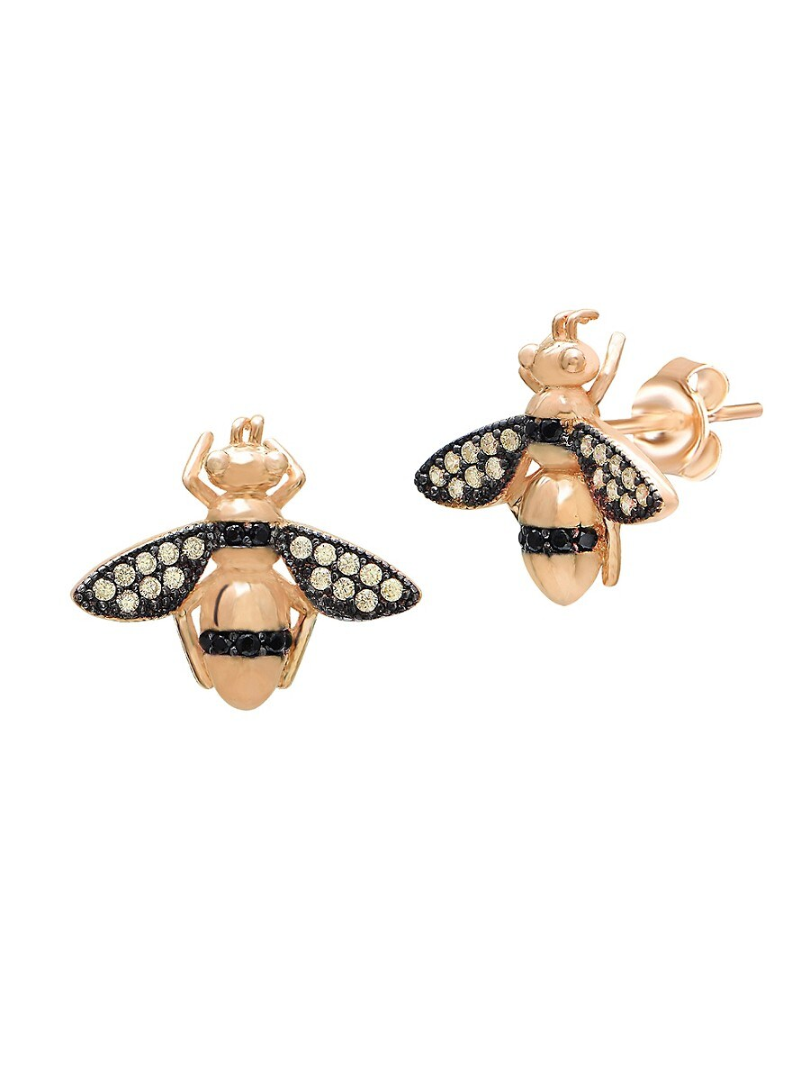 Women's 22K Gold Vermeil Yellow & Black Crystal Honey Bee Stud Earrings