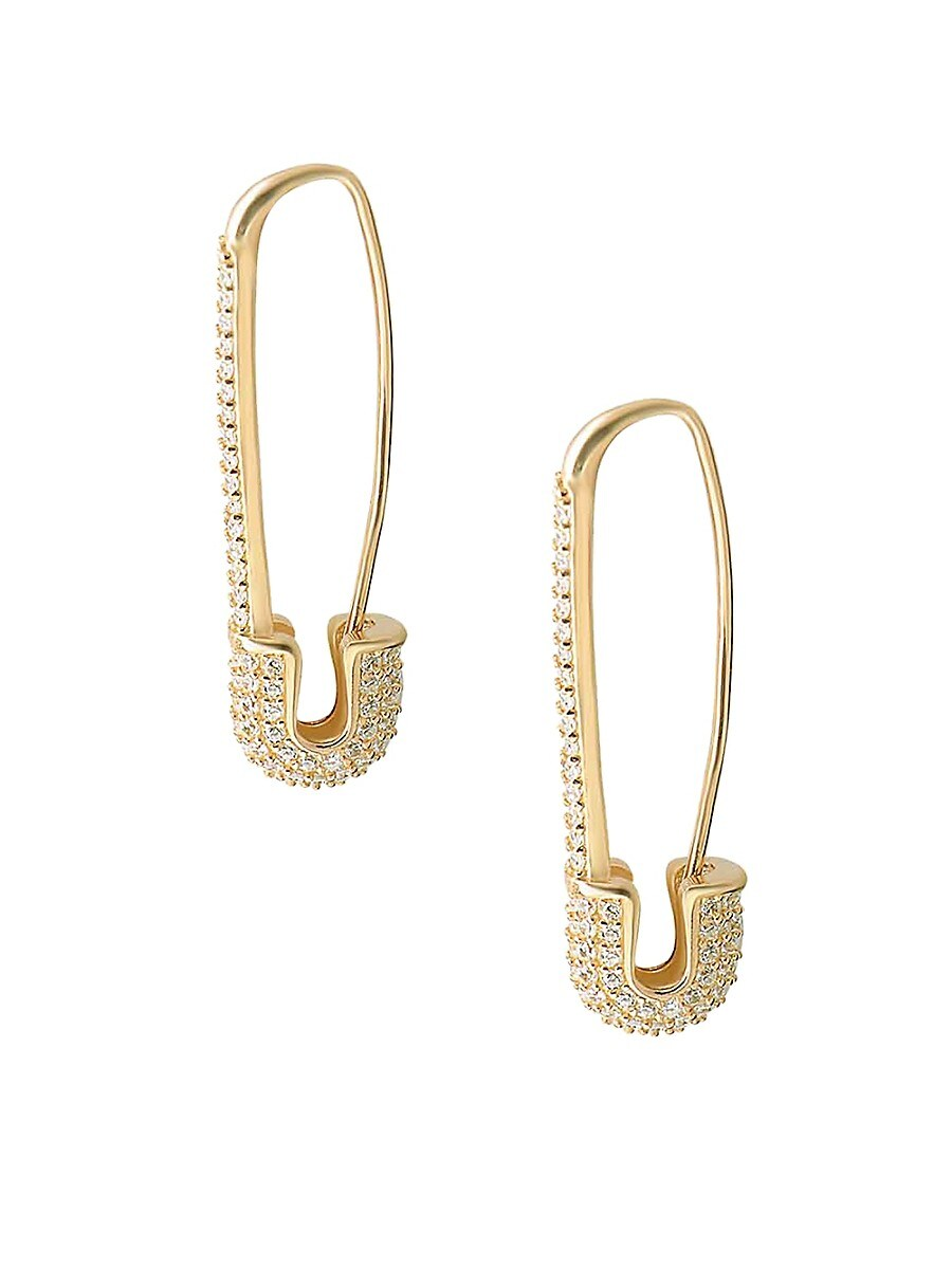 Women's 22K Yellow Goldplated Pavé Safety Pin Earrings