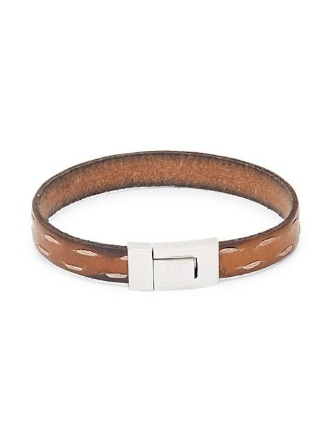 Tateossian Stainless Steel & Leather Bracelet