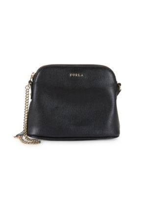 Furla Miky Large Saffiano Leather Dome Crossbody Bag In Onyx ... 2be519117dec8