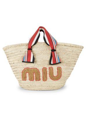 Miu Miu Totes Logo Straw Tote