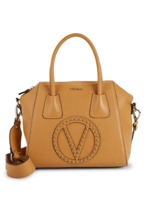 Valentino By Mario Valentino Bags Minimi Rockstud Logo Pebbled-Leather Satchel