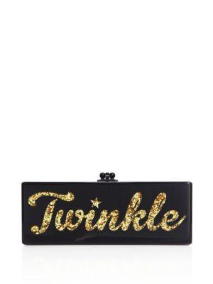 Edie Parker Flavia Twinkle Acrylic Clutch In Black Gold