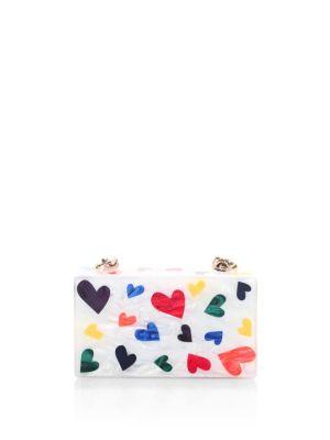 Mini Hearts Clutch in White