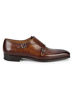 Ethan Cuero Leather Monk Strap Loafers by Magnanni