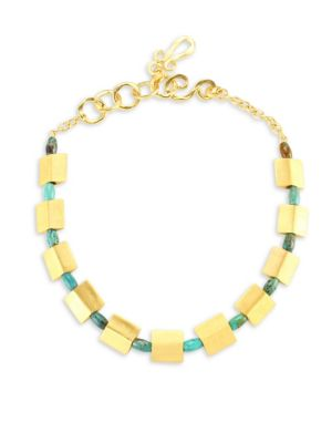 Stephanie Kantis Sequence Turquoise Howlite Collar Necklace In Gold Turquoise
