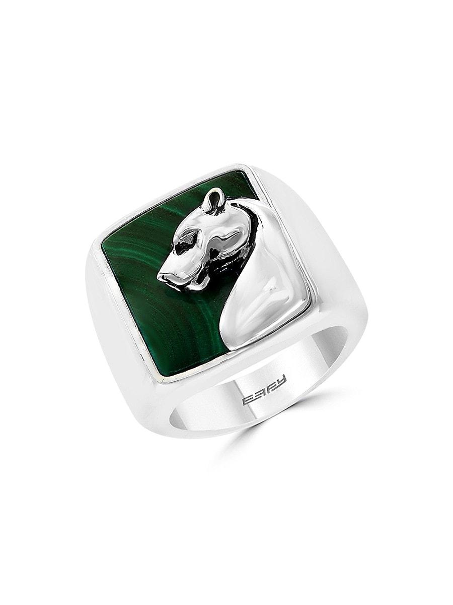 Men's Sterling Silver & Malachite Ring