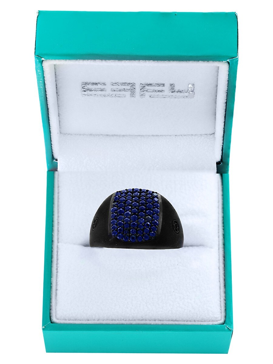 Men's Black Rhodium-Plated Sterling Silver & Blue Sapphire Ring