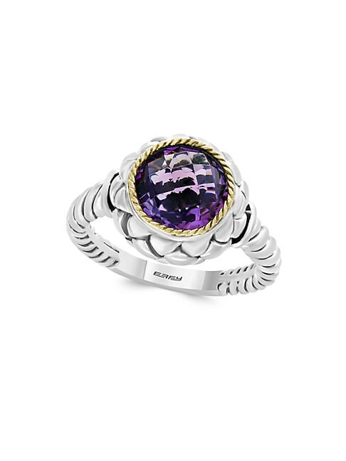 EFFY | 925 Sterling Silver, 18K Yellow Gold & Amethyst Ring | Goxip