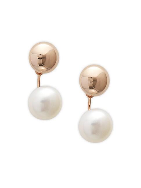 SAKS FIFTH AVENUE | 14K Rose Gold & 7mm Freshwater Pearl Drop Earrings | Goxip