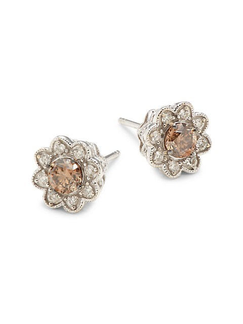 Le Vian 14k White Gold 1 36 Tcw White Brown Diamond Stud Earrings On Sale Saks Off 5th