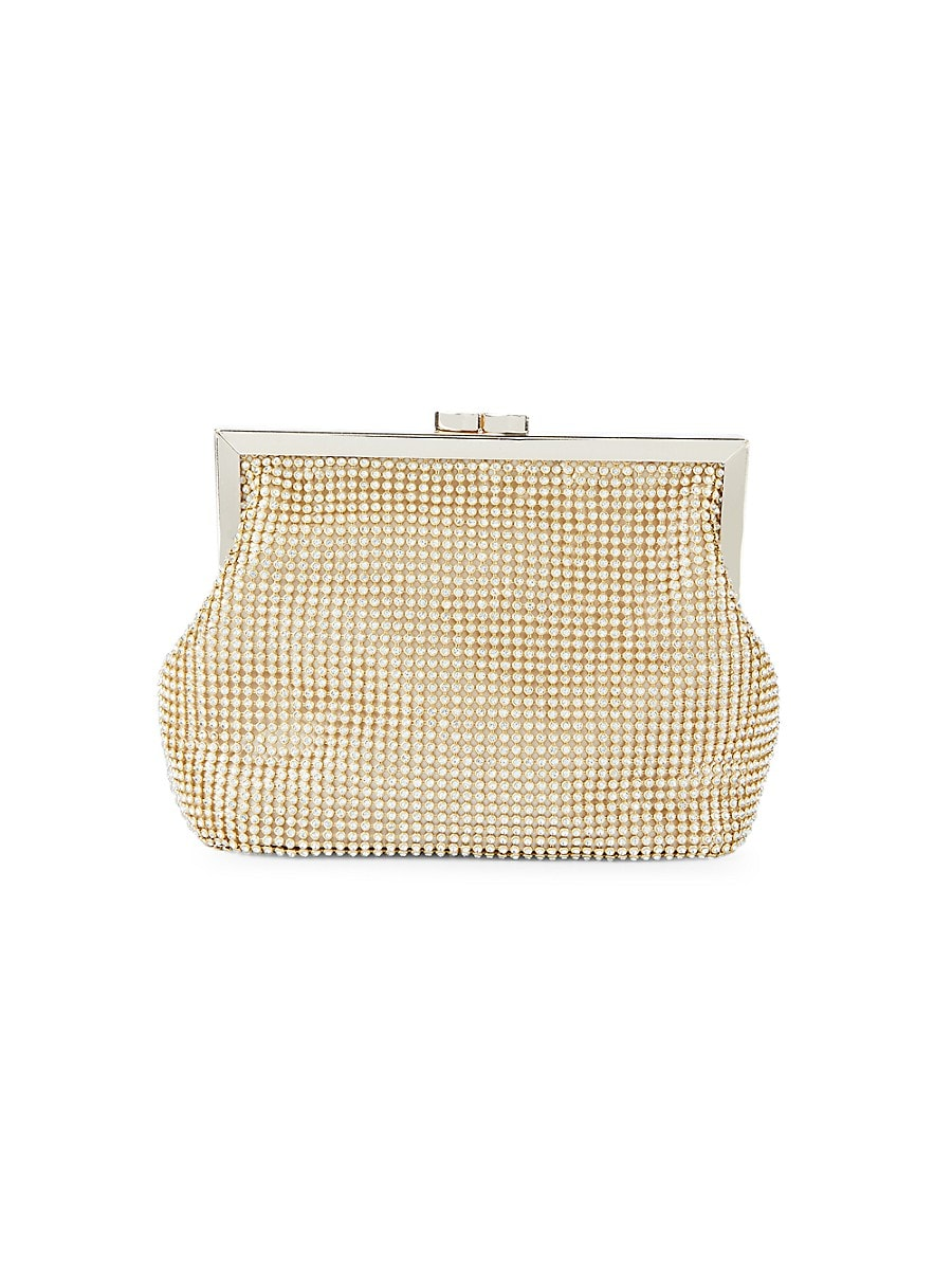Women's Crystal-Studded Pouch Clutch
