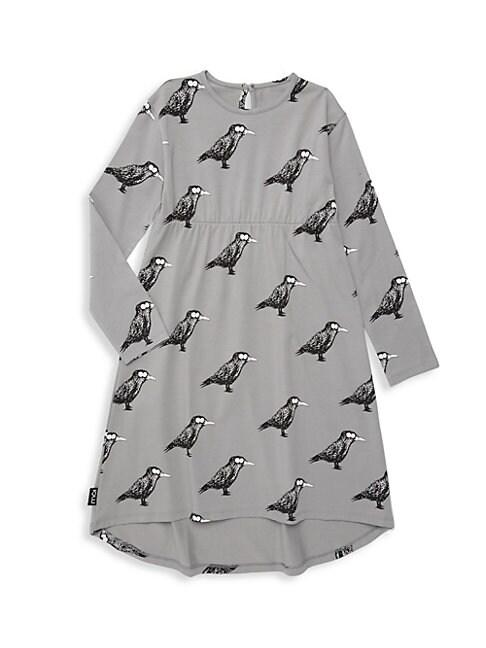 Baby Girls Little Girls  Girls Raven Print TShirt Dress