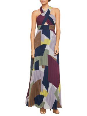 Bcbgmaxazria Geometric Halter Gown