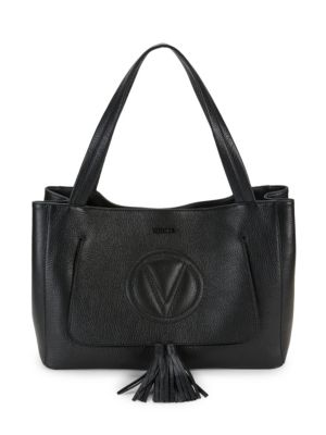 Valentino By Mario Valentino Ollie Grained Leather Tassel Shoulder Bag