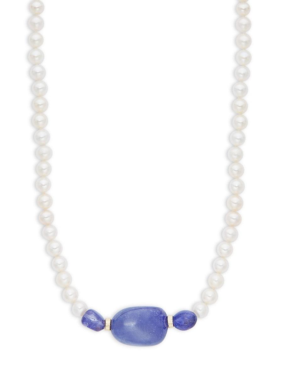 "Women's 5-6mm Round Freshwater Pearl & Tanzanite Princess Necklace/18"""