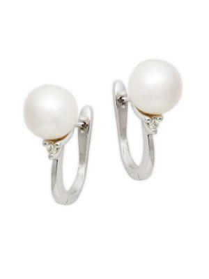 Belpearl 14K White Gold, White Akoya Pearl & Diamond Earrings