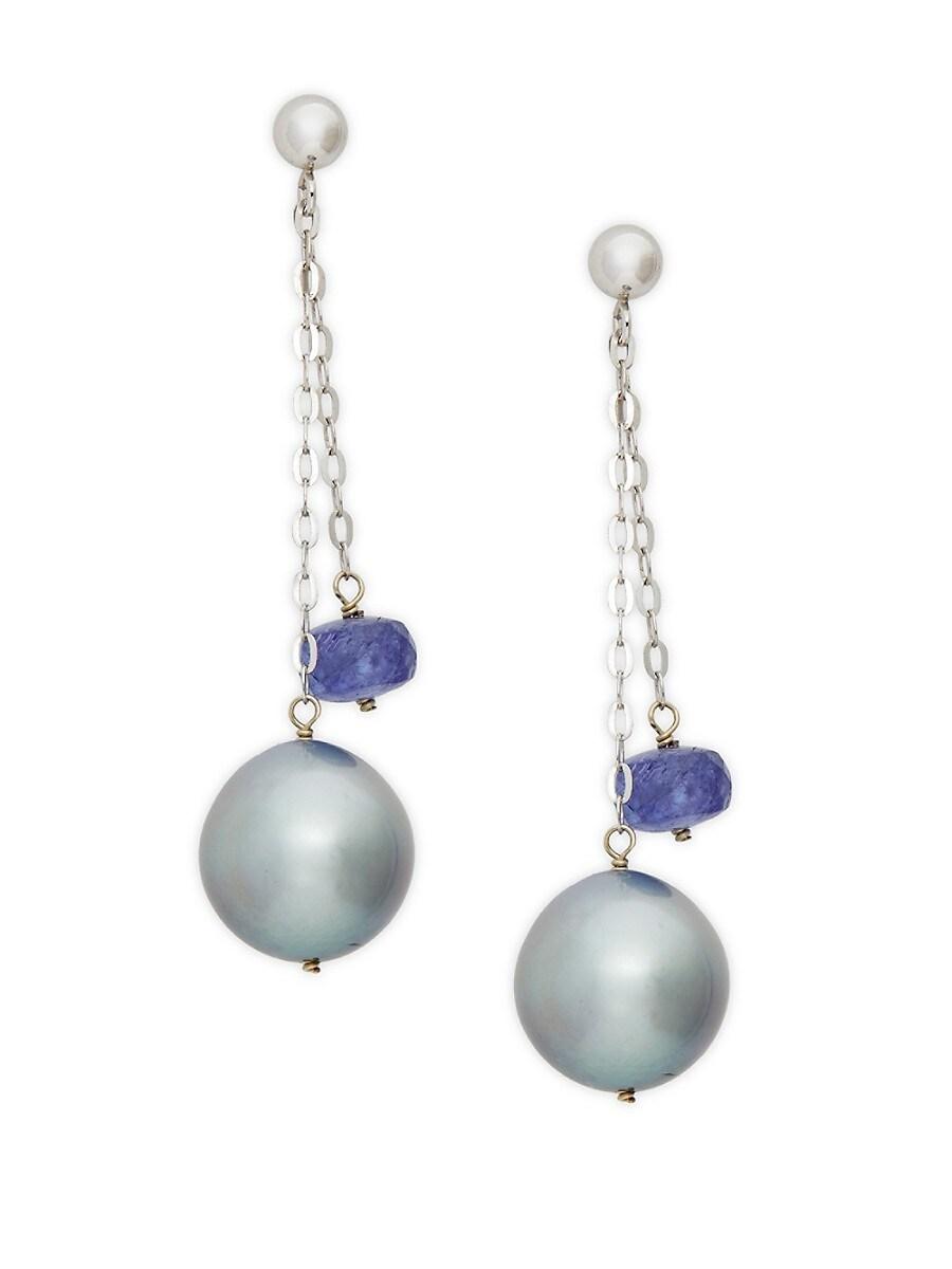 Women's 14K White Gold 11mm Gray Tahitian Pearl & Tanzanite Double Chain Drop Earrings