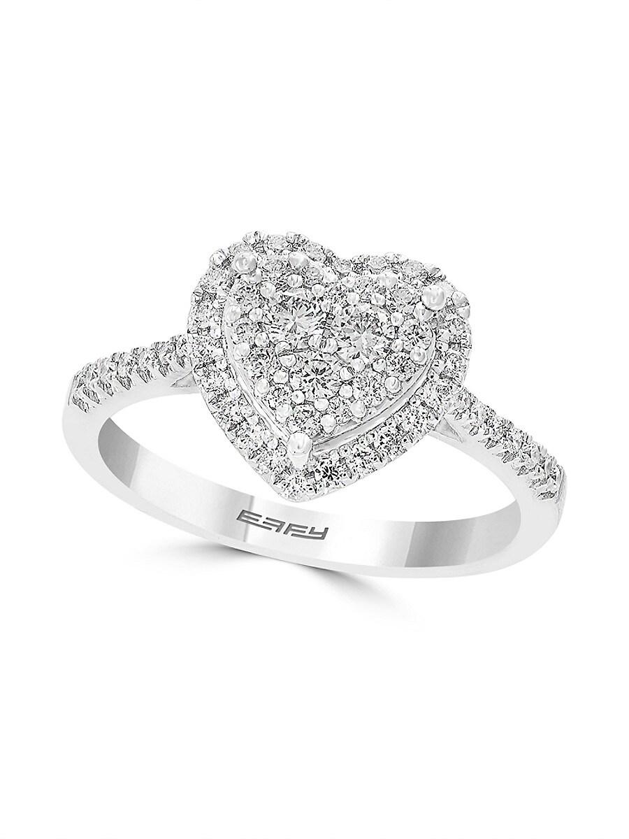 Women's 14K White Gold Diamond Heart Ring/Size 7