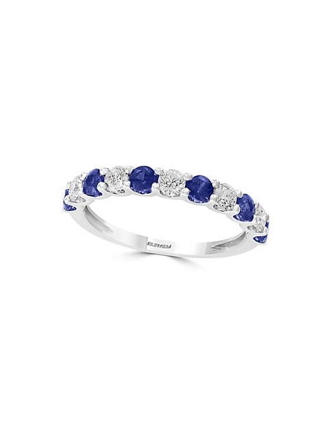 EFFY | 14K White Gold Sapphire & Diamond Band Ring | Goxip
