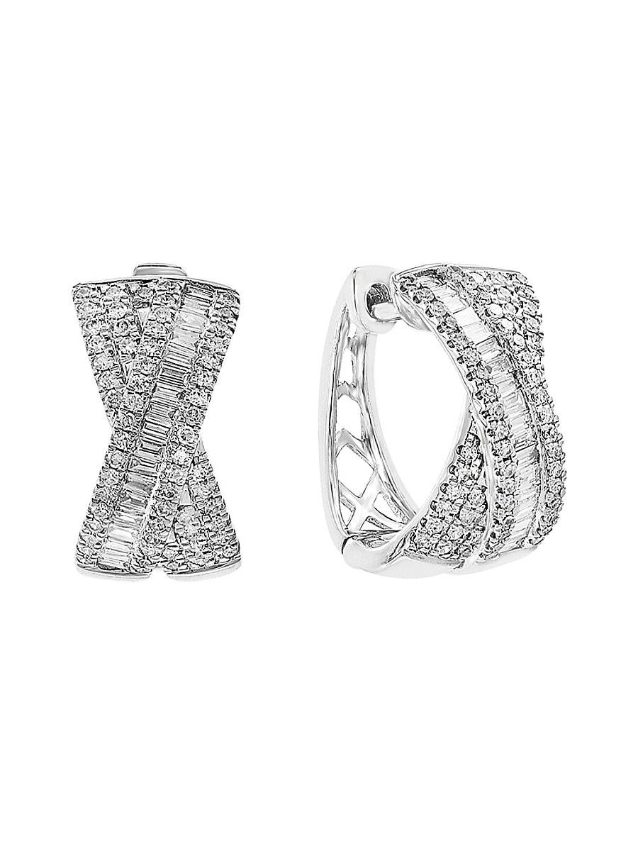 Women's 14K White Gold & 0.6 TCW Diamond Bow Stud Earrings